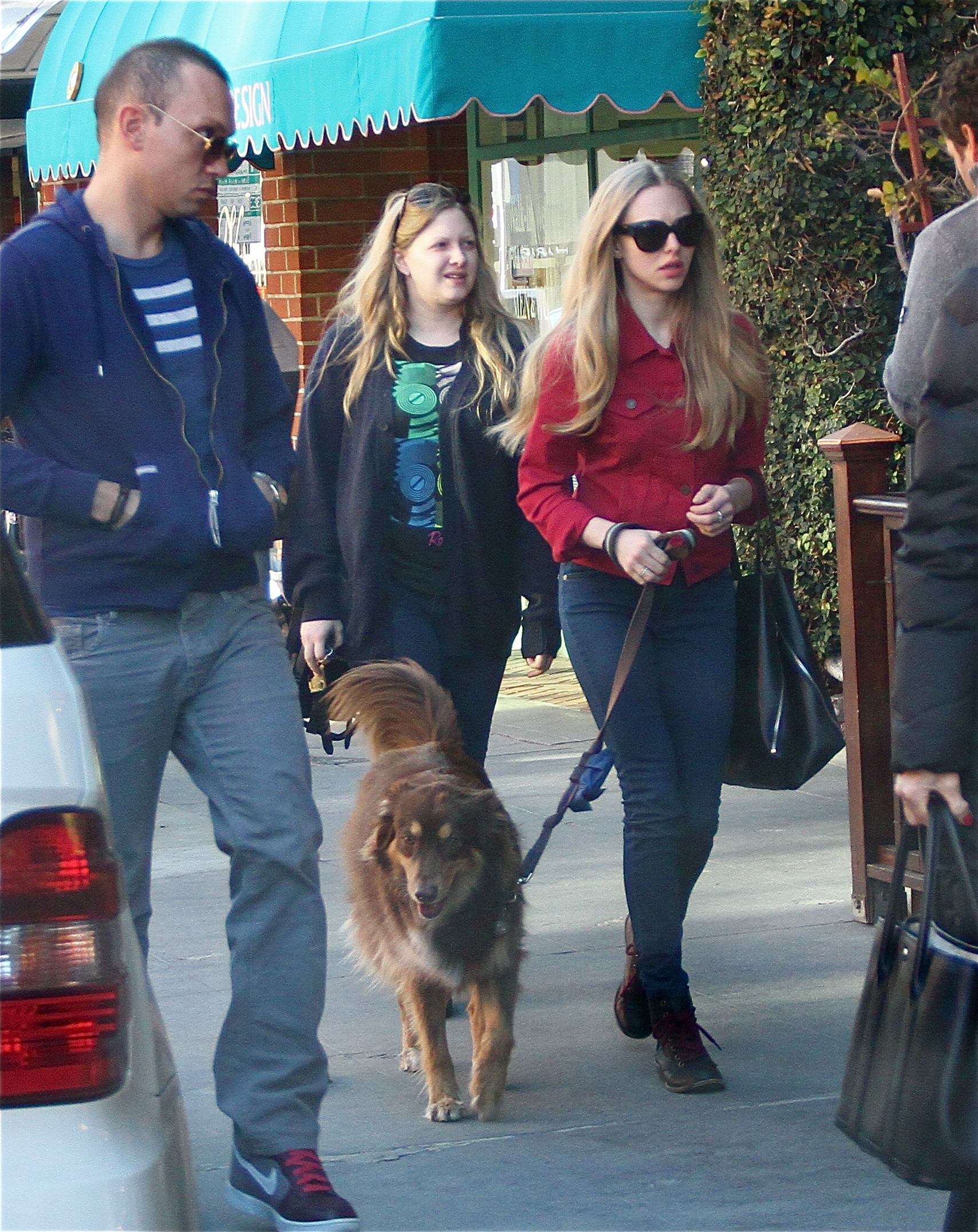 Amanda Seyfried with friends takes Flynn to the doctors office and Urth Cafe in Beverly Hills